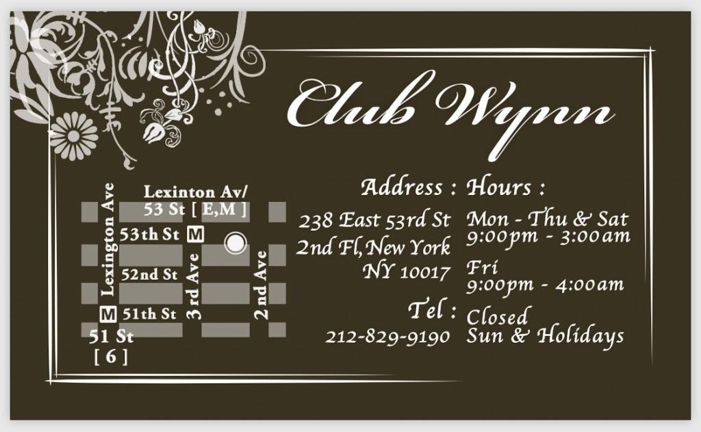 Club Wyn | night club | 238 E 53rd St, New York, NY 10022, USA | 2128299190 OR +1 212-829-9190