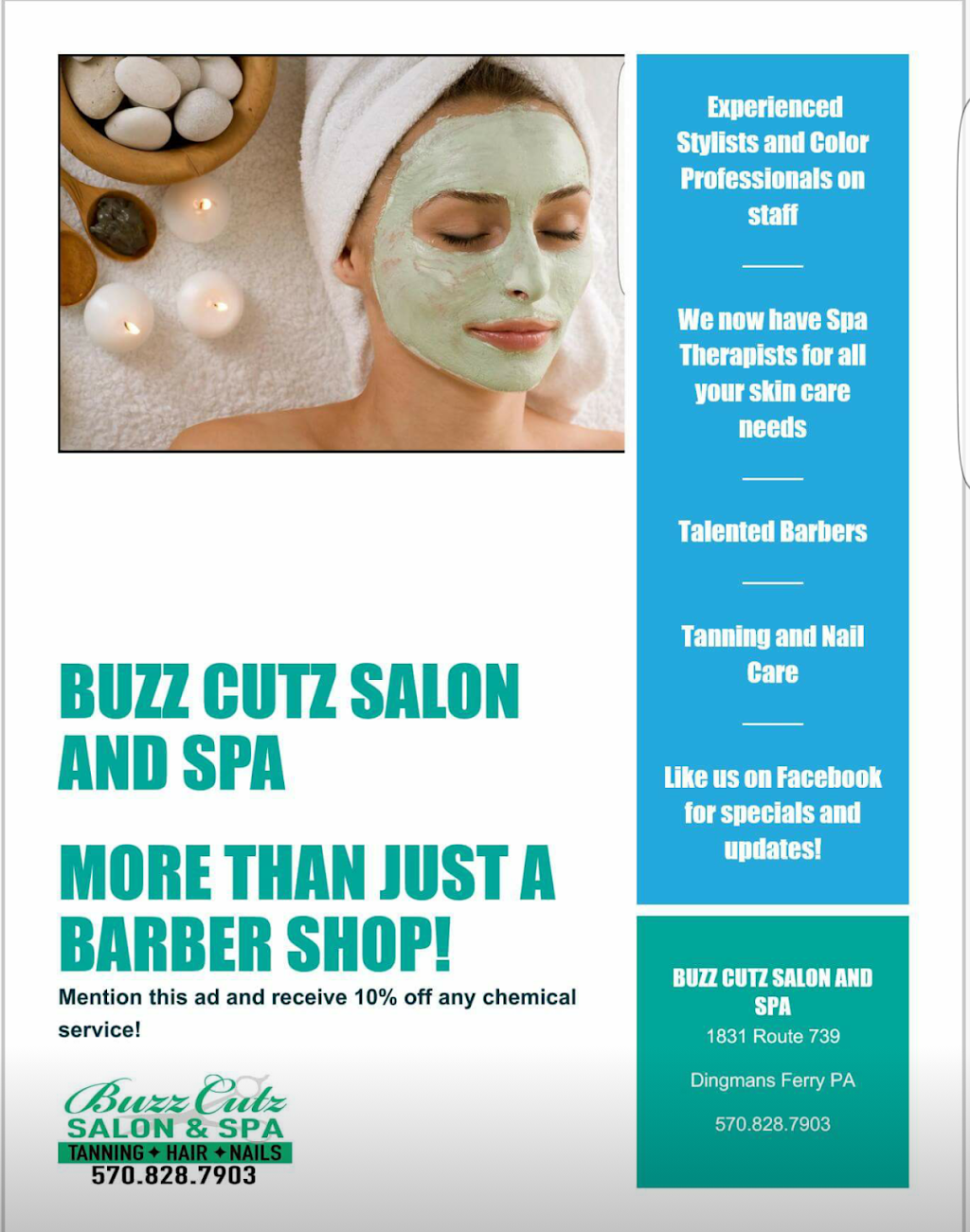 Buzz Cutz Salon and Spa - hair care    Photo 10 of 10   Address: 1831 PA-739, Dingmans Ferry, PA 18328, USA   Phone: (570) 828-7903